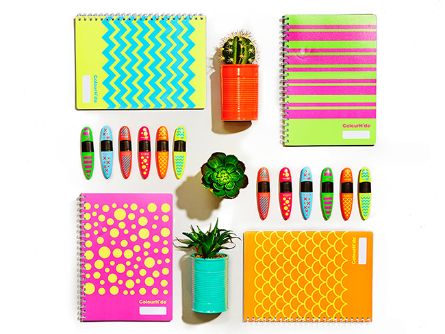 styled flat lay stationary and office supplies